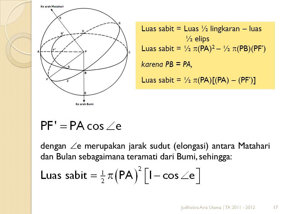 Luas sabit = Luas ½ lingkaran – luas ½ elips Luas sabit = ½ (PA)2 – ½ (PB)(PF') karena PB = PA, Luas sabit = ½ (PA)[(PA) – (PF')]